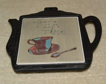 Trivet, Cast Iron, Teapot Shape, Ceramic Tile, Tea Cup, Spoon, Tea Time, Gray, Black, Kitchen, Home Decor, Plum, Teal, Brown, Wall Decor,