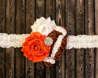 Longhorns inspired baby headband, Texas Longhorns, burnt orange football headband