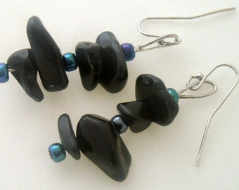 Black Onyx Gemstone Dangle Earrings Black Handmade Earrings Black Gemstone Stacked Chunky Beads Earrings