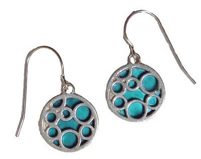 small aqua round bubble earrings