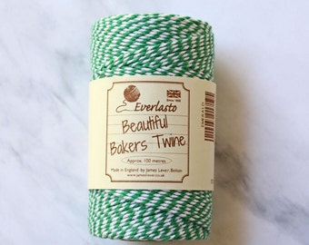 Heavy Twine, Green and White Baker's Twine, Christmas Twine, Emerald Green