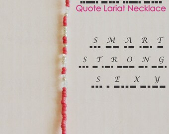 Quote Lariat Necklace | Glass Bead Y Necklace | Custom Personalized Morse Code Jewelry | Wedding Jewellery | Bridesmaid Gifts