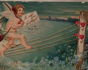 Vintage Valentine Postcard, Antique Valentines Day Card, Cupid Walking the Rope/Line to get to His Valentine, Love's Message via Telegraph