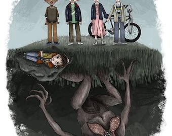 Stranger Things - 8 1/2 x 11 Illustration Print