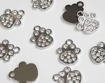 5 Animal Paw rhinestone charms dog paw cat paw bear paw antique silver finish 18x15mm DB10354