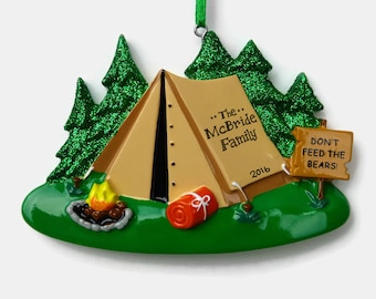 Camping Personalized Ornament - Tent Camping - Family Vacation - Hand Personalized Christmas Ornament