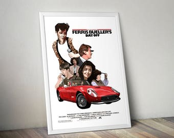 Ferris Bueller's Day Off A4 Poster Unique Retro Movie Poster - Movie Print Film Poster Wall Art Xmas Gift