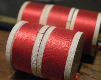 Lot of 5 Pure Silk Button Hole Twist Belding Corticelli Thread - Scarlet or Crimson Red, 10 yards each