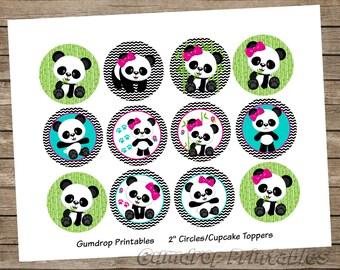 Cute Panda Bears Cupcake Toppers 2 Inch Circles Images ~ Instant Download ~ Panda Birthday Baby Shower Printable Image Sheet