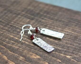 Silver flower earrings, fine silver earrings, garnet earrings, boho jewelry, unique silver jewelry