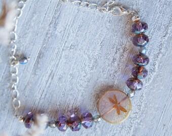 Dragonfly Bracelet, Wanderlust Bracelet, Wanderlust Gift, Inspirational Bracelet, Inspirational Gift, Inspirational Violet Bracelet, Gift
