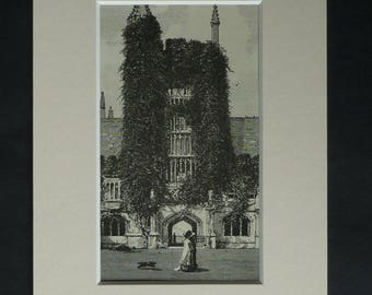 1880s Antique Mounted Oxford University Print of Founders Tower in Magdalen College