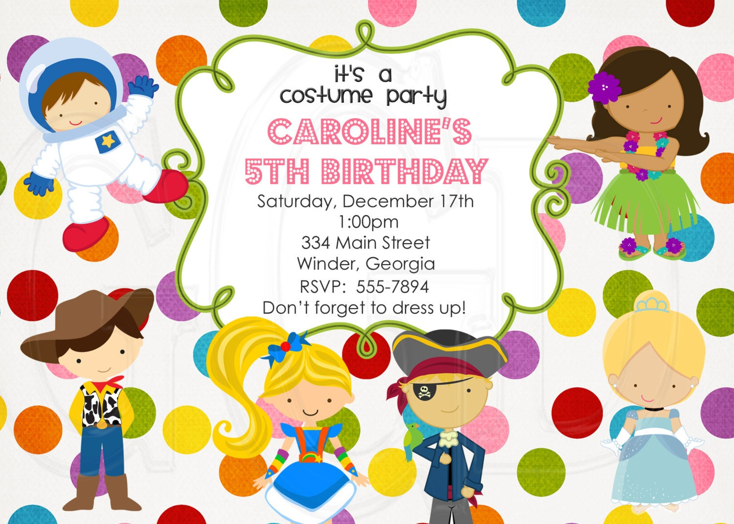 Costume Party Invitation dress up party non halloween