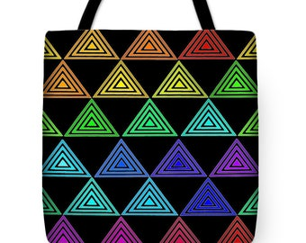 Rainbow Pyramids Tote Bag Gift - Rainbow Triangles Throw Pillow Gift - Triangle Contemporary Pillow - Triangle Pyramid Rainbow Pillow Gift