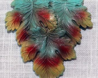 Art Deco Celluloid Autumn Leaf Brooch