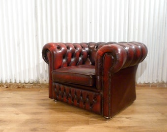 Beautiful chesterfield oxblood red leather club chair man cave