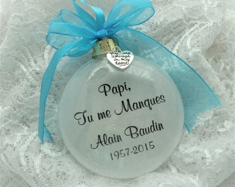 Memorial Ornament Papi Tu me Manques for Father Personalized Free Charm