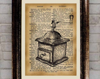 Old coffee grinder, BOGO, Vintage poster, Dictionary print, Antique illustration