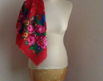 Red Pink Russian Scarf Red Rose Wool Neckerchief Square