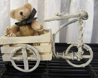Vintage 90's miniature  twig and wood tricycle cart