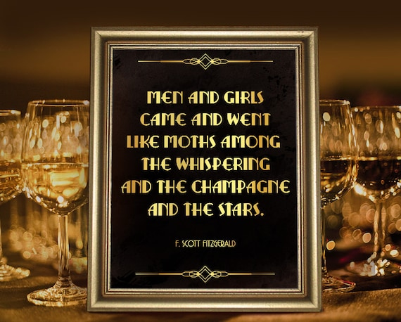 Great Gatsby Party Decor F Scott Fitzgerald Quote Poster