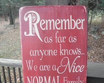 family rules wood sign ,remember as far as anyone knows, red sign, family sign, home decor, primitive home decor, funny sign, subway art,