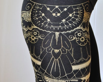 Fabric Back Ordered / Ships After May 15th / Henna Eagle Wing Print, High Waisted Leggings, Black Leggings, Bamboo Jersey