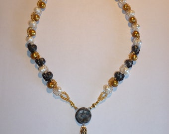 TUTORIAL-Gold and Silver Weave Cross necklace