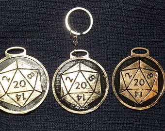 Dungeons and Dragons Inspiration token and D20 die dice keychain keyring