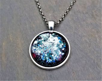 Hand Painted Glass Pendant: Star Explosion on a midnight & purple background (Necklace or Keychain)