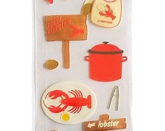 16 stickers decals 3D crab lobster 21 cm Martha Stewart scrapbooking cardmaking