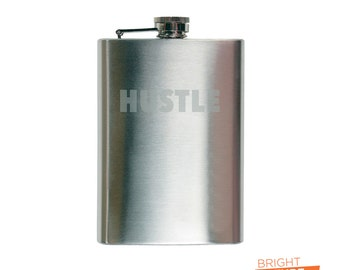 Hustle - 8oz. Etched Stainless Steel Hip Flask with Filling Funnel
