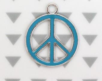 Turquoise enameled Peace charm, 29 mm