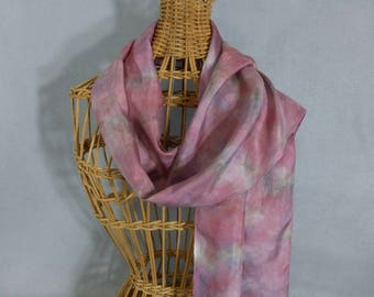 "Silk Scarf ""Rose and Gray Marble"", Hand Painted Silk Scarf"