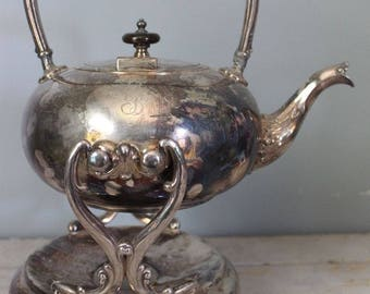 Vintage 1912 Barbour Silver Co. Electro Plate Silver Plated Teapot on Stand