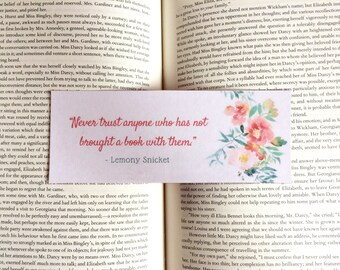 Lemony Snicket Floral Quote Bookmark