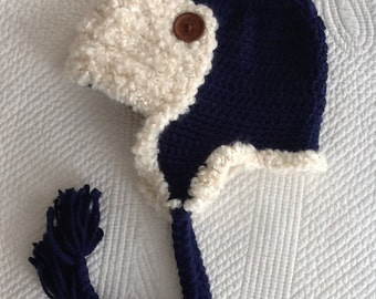 Crochet Aviator Hat with Earflaps, Aviator Hat, Crochet Hat, Little Boy Hat, Blue Aviator Hat, Hat with Earflaps
