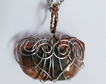 Wire Wrapped Natural Stone Necklace: Heart Swirls