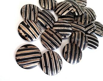 Pendentifs peints noir et or en os naturel 3pcs