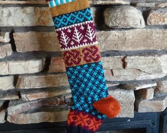 Knit Christmas Stockings, Personalized Knit Christmas Stocking, Christmas Stocking, Knitted Christmas Stocking, Fuchsia Trees, Orange Hearts
