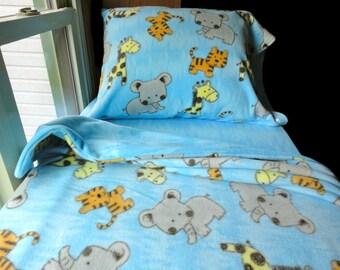 Jungle Animals Blue Bedding Set Handmade Fleece Bed Set Fits Crib and Toddler Beds