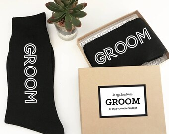 Groom Socks from Bride In Case You Get Cold Feet Sock Label - Cold Feet Socks for Groom Gift from Bride  (EB3258GM)