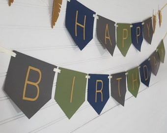 Tribal Wild One Teepee and Feather Happy Birthday Bunting Banner Sign
