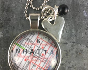 Map Pendant Necklace Midtown Manhattan New York NYC with heart charm