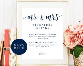 Signature cocktail sign Editable template Navy wedding decor Navy blue decorations Bar menu template Mr and Mrs signature drink sign #vm23