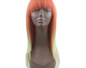 """Synthetic wigs reddish yellow and white ombré 18"""" inch long layered straight hair with bang crazy unique colors very high quality"""