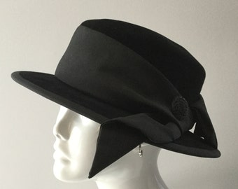 Hat, boatman, fur felt, finished velvet, classic headwear, black color