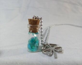 Leprechaun glitter bottle necklace