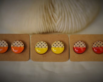 WOOD Earring, POLKA Dot Earring, WARM Colors Orange, Yellow, Red on Stainless Steel Ear Post ~ 12 mm - Women / Casual / Elegant