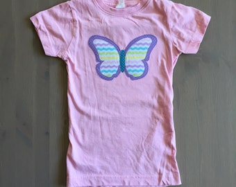 Girls butterfly shirt, toddler butterfly shirt, butterfly applique shirt, girl Christmas gift, girl birthday gift, butterfly shirt